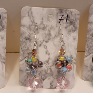 Multi colored beads with big pink gem earrings
