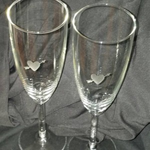 Set of Heart with arrow Champagne Flutes