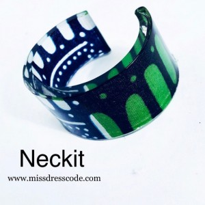 Green and BlueThemed African  Print Fabric in Resin Cuff Bangle