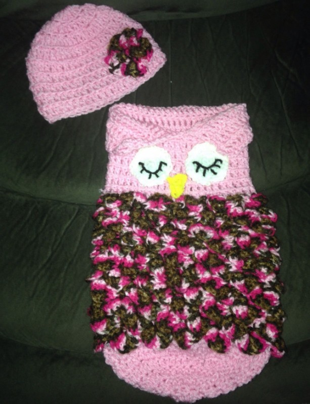 Baby Owl Sleep Sack, Swaddler Owl Baby Sack, Owl Cocoon, Owl Photo Prop, Can be made in other colors!
