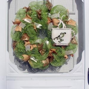 Coffee Cup, Deco Mesh Wreath, Metal Wreath, Green Wreath, Coffee Decor, Door Decor, Spring Wreath, All-season Wreath, Rustic Metal Decor