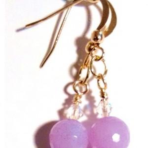 Lavender Jade Gemstone Crystal Earrings, Faceted Beads Earrings, Light Purple Earrings, Gift for Bridesmaid, Spring Jewellery, Jewelry Sale