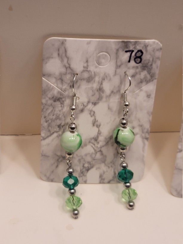 Multi colored green earrings