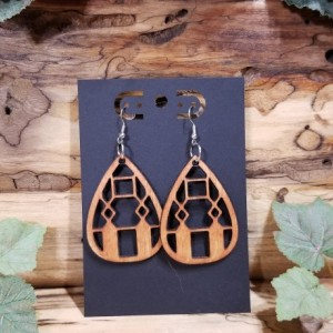 Wooden Earrings - Boho Teardrop Style - Lightweight - Laser Cut - Birthday Gift - 3 Finishes Available - Natural - Brown - Lt Red Stain