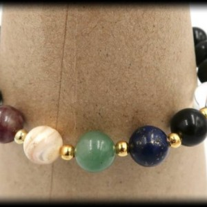 Black Tourmaline Chakra Healing Bracelet for Strength and Courage