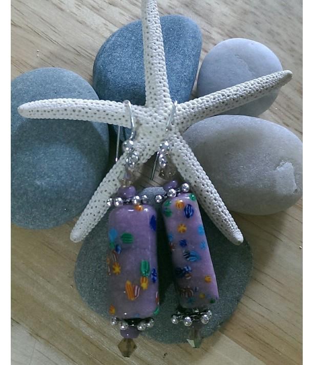 Lilac Purple Lampwork Earrings