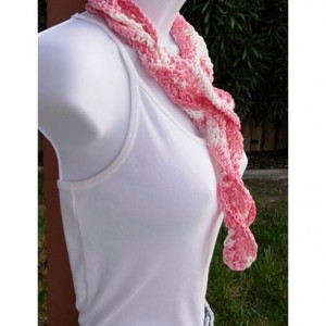 Pink & White Skinny SUMMER SCARF Small 100% Cotton Spiral Twisted Narrow Lightweight Women's Crochet Knit Necklace, Ready to Ship in 3 Days