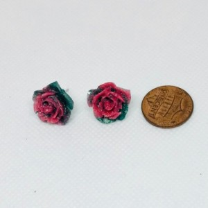 Pink resin rose stud earrings Romantic Gift for Women