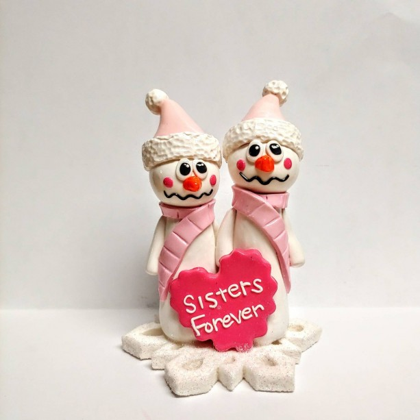 Polymer Clay, Christmas, Keepsake, Snowman Sisters, Sisters Forever, One of a Kind, Unique Gift