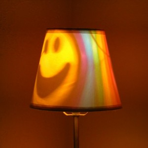 Hand-Painted Rainbow Happy Face Mood-Light Bulb