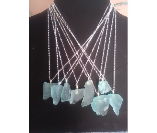 "18"" Chain Sea glass Aqua in color"