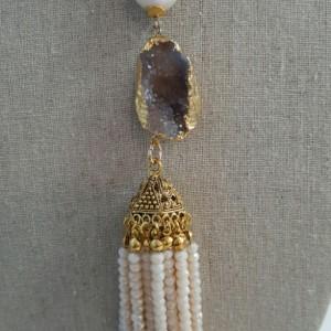 Bohemian Poppy Jasper with Tassel long Necklace