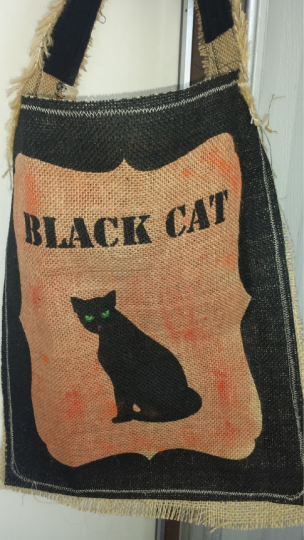 Orange Painted printed burlap trick or treat Halloween bags