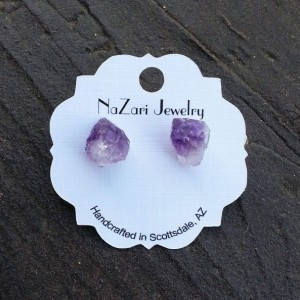 RAW AMETHYST STONE EARRINGS