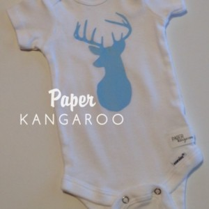 Light Blue Deer Snap Bodysuit, 0-3 months, Ready to Ship