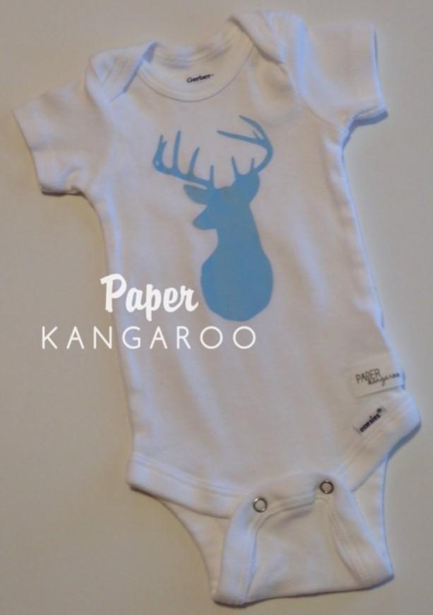 Light Blue Deer Snap Bodysuit, 0-3 months, Ready to Ship