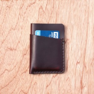 Leather Card Holder, Minimalistic Leather Wallet, Leather Card Wallet, Chromexcel Wallet, Horween Slim Leather Wallet, Burgundy Chromexcel