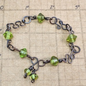 granny smith green antiqued copper bracelet