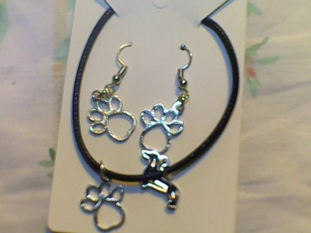Dog Paw Homemade Earrings Silver in Color and Black necklace Set.