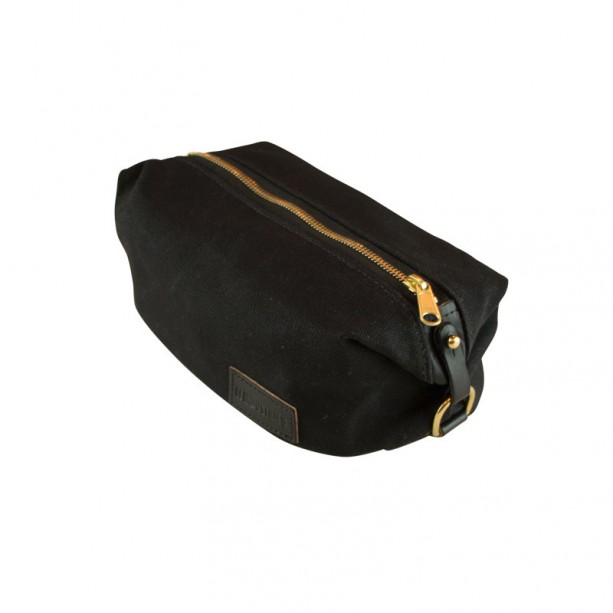 Black Waxed Canvas Shaving Kit Dopp Kit