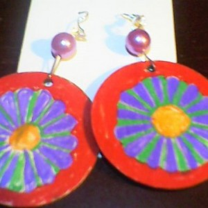 Red, Purple, and Green Flower Painted wood circle earrings homemade