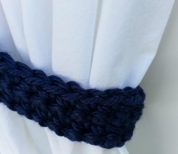 Basic Curtain Tiebacks Set Tie Backs One Pair Solid Dark Navy Blue