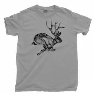 Jackalope Men's T Shirt, Mythical Spirit Animal Bigfoot Cryptids Hiking & Camping Unisex Cotton Tee Shirt