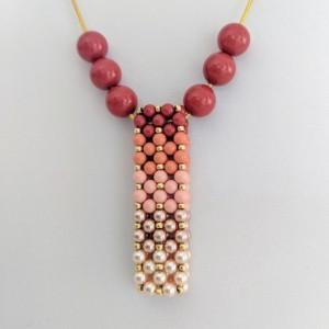 Ombre' Swarovski Pearl Vertical Slide Bar Pendant necklace in Coral
