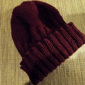 Women's Knitted Hat in Dark Burgundy