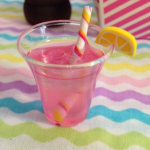 Pink Lemonade Drink with Swizzle and ice cubes fits american girl doll food