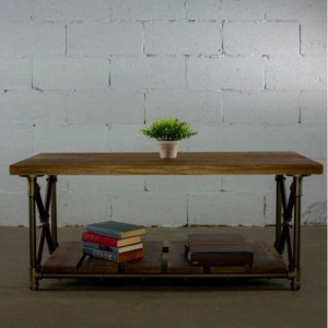 """Industrial Chic Coffee Table, 46"""" long x 24"""" deep x 19.5"""" tall, Metal Pipes and Reclaimed/Aged Wood Finish"""