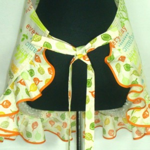 Retro Kitchen Apron for women ,  Environmental Sayings , Adjustable with Ruffle