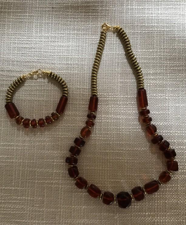 Czech Glass, Red Acrylic Beaded Jewelry Set