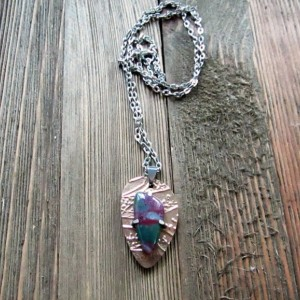 Bronze Metal Clay and Bloodstone Pendant With Silver Accents