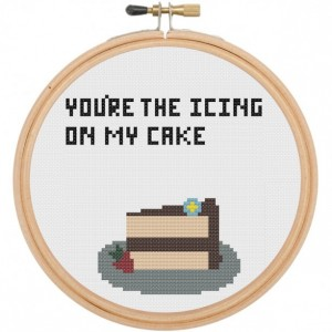 You're The Icing on my Cake Dessert Cross Stitch DIY Kit Needlework Embroidery Intermediate