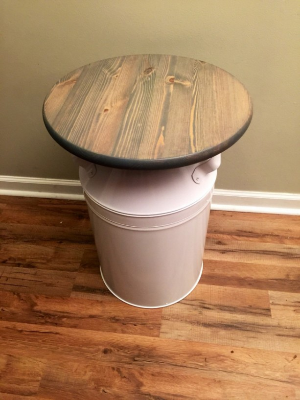 White Milk Jug Wood End Table Rustic End Table Rustic