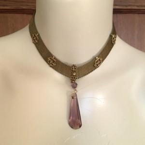 OOAK Vintage Amethyst Crystal Gold Mesh Pendant Necklace
