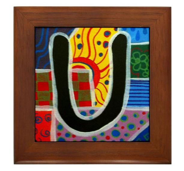 """Folk Art - Letter """"U"""" - FRAMED TILE By Artist A.V.Aposte"""