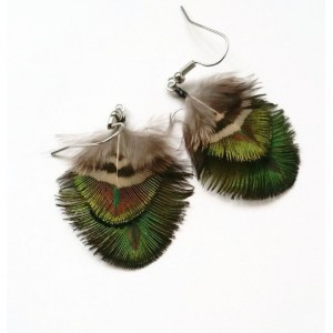 Small Peacock Feather Earrings - Natural Feather Earrings - Iridescent