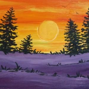 """Purple-Orange Pines"" original painting"