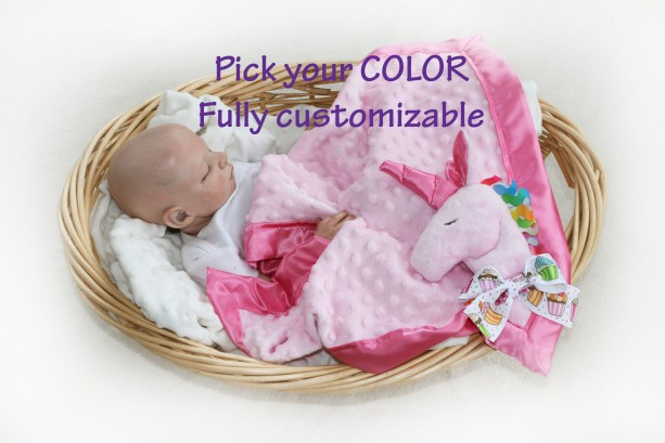 Unicorn Security Blanket, unicorn baby blanket pink unicorn Lovey Blanket, rainbow unicorn, Satin, Baby Blanket, Stuffed Animal, Baby Toy