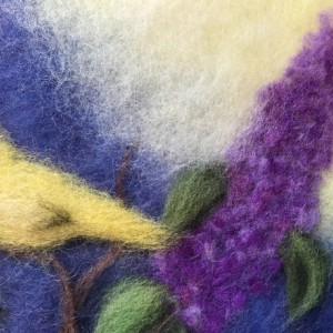 """Wool Painting """"Birds on branches of lilacs"""""""