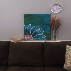Oil Painting on Canvas-Original Artwork-Teal and Red Painting- Floral Art- Teal Daisy Flower- Botanical- Sarah Floyd