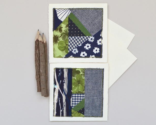 Forest & flowers fabric card set -- two stitched cards