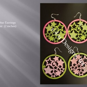 Pink and Green Star earrings