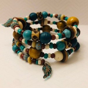 Turquoise and Wood Bead Memory Wire Bracelet