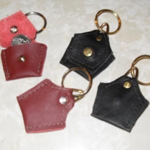 """Handmade """"Original"""" Leather Quarter Key Chain, leather keychain, coin holder keychain, leather coin holder,"""