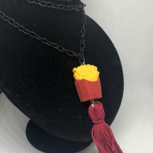 Upcycled French Fries Box Eraser Toy with Tassel Necklace - French Fry Jewelry - Tassel Necklace - Upcycled Toy Necklace - Red Fast Food