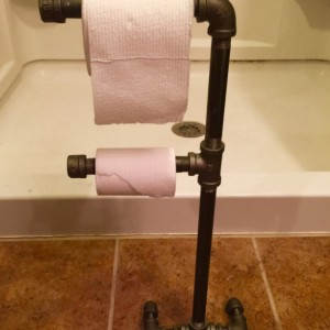 Industrial Black Iron Pipe Double Toilet Paper Holder, Urban, Loft, Steampunk Style
