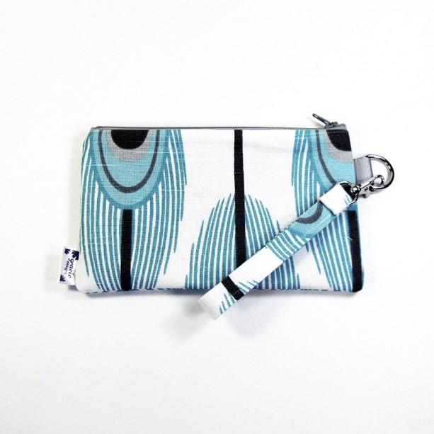 Medium Wristlet Zipper Pouch Clutch - Aqua Peacock